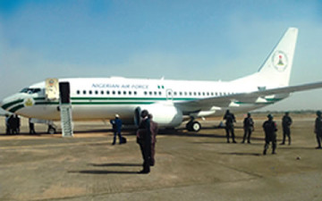 Panic as President Jonathan's N9bn presidential jet develops technical fault during takeoff
