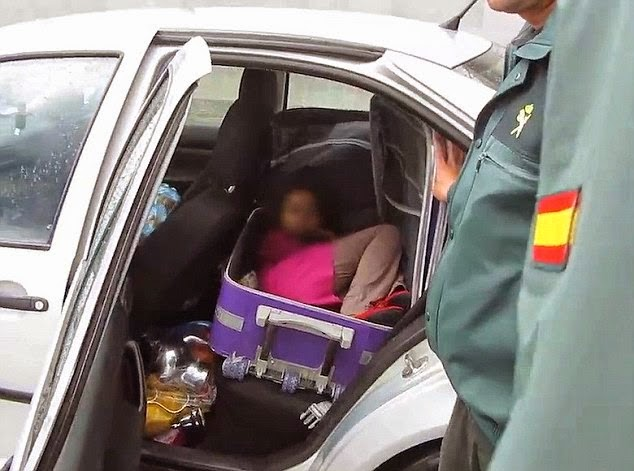 [PHOTOS] Desperate Moroccan Father Caught Smuggling 8-Year-Old Daughter Into Spain Inside A Suitcase