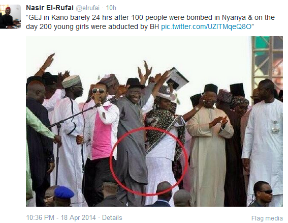 El-Rufai tweets pic of Jonathan dancing at Kano rally day after Nyanya blast