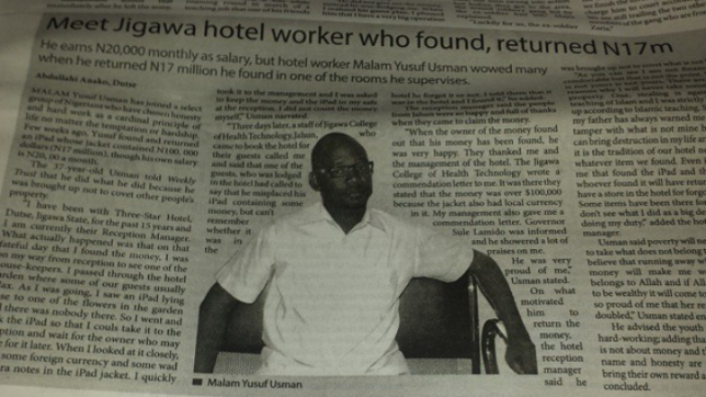 Incredible! Meet Hotel worker who found and returned N17million