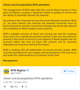 MTN, Arik, Radio Stations, Others Seriously Affected By Ongoing Fuel Scarcity
