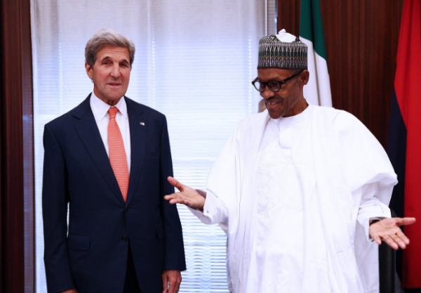 [VIDEO, PHOTOS] US Secretary Of State, John Kerry Visits President Buhari At Presidential Villa