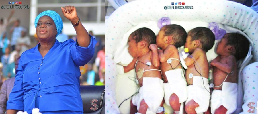 [PHOTOS] Pastor Adeboye's Wife Takes Up Responsibility For The First Quadruplets Born During  Convention