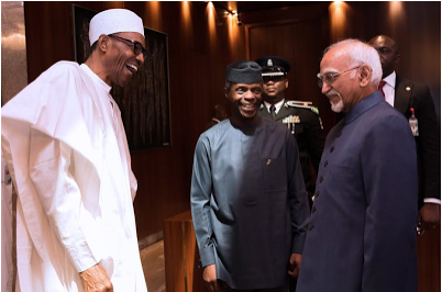[PHOTOS] President Buhari Receives Vice-President Of India In Abuja