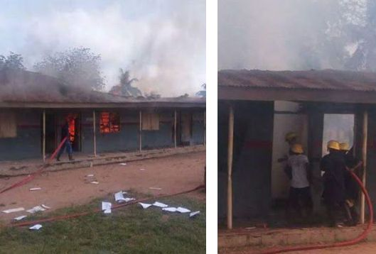 [PHOTOS] Angry Students Burn Down Secondary School After Failing Exam In Oyo State