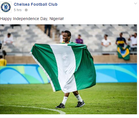 Nigeria At 56: Arsenal, Chelsea, Manchester United Wishes Nigeria A Happy Independence Day