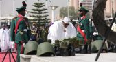 Buhari lays the wreath