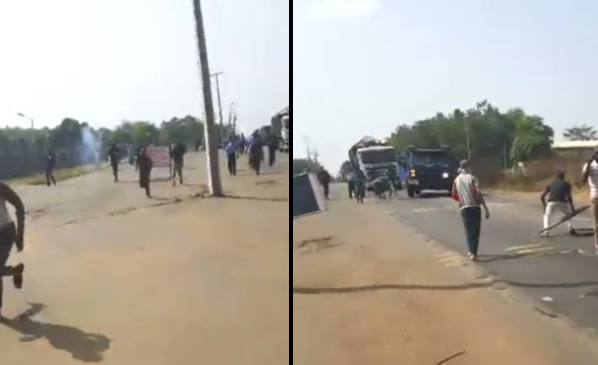 [VIDEO] LAUTECH Students Run For Their Lives As Police Open Fire On Them During A Protest