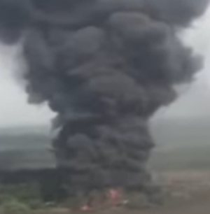 [VIDEO] Illegal Oil Storage Facility Owned By Militants Destroyed By The Nigerian Air Force In Rivers