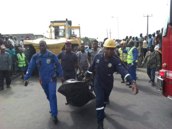 [PHOTOS] Okada Rider Crushed To Death By Heavy Duty Truck In Lagos