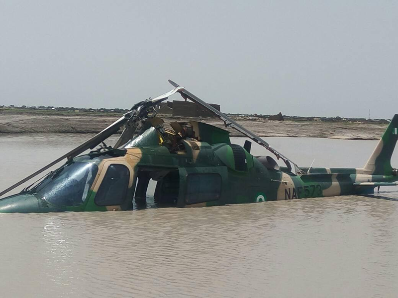 nigerian airforce helicopter crash into water photo
