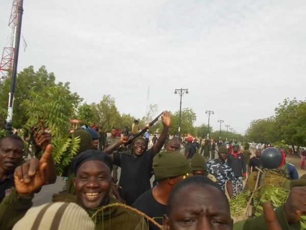 Image result for Mobile Police officers protest in Borno