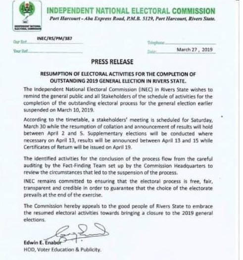 INEC Rivers - INEC Releases Timetable for Completion of Rivers State Election