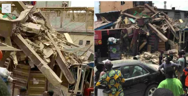 building collapse - [PHOTOS] Another Building Collapses In Kakawa Street, Lagos Island