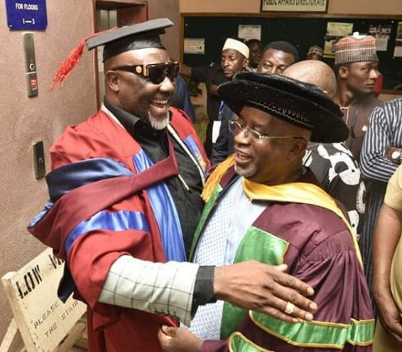 Dino Melaye Dangote4 - Photos: Aliko Dangote Attends Senator Dino Melaye's Convocation As He Bags An Msc