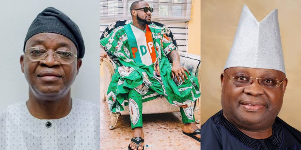 "Oyetola Davido and Adeleke - ""Oyetola Must God. You Lost Your Election Sir! Accept God's Will And Vacate"" – Davido To Oyetola"