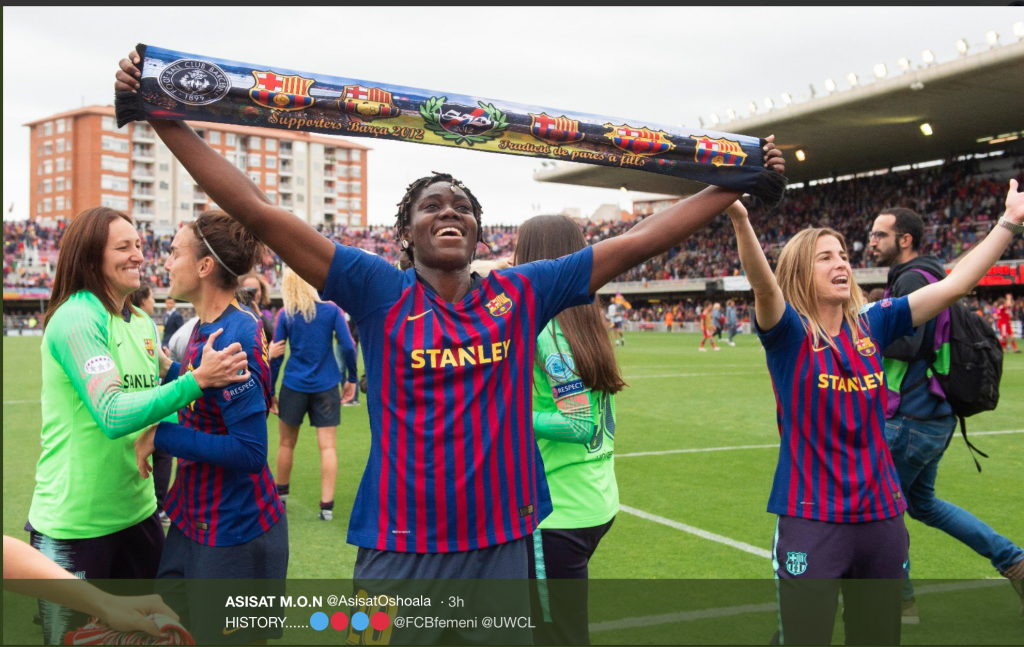 Screen Shot 2019 04 28 at 2.51.54 PM 1 1024x647 - Falcons Star, Asisat Oshoala Celebrates As Barcelona Women Make Champions League Final