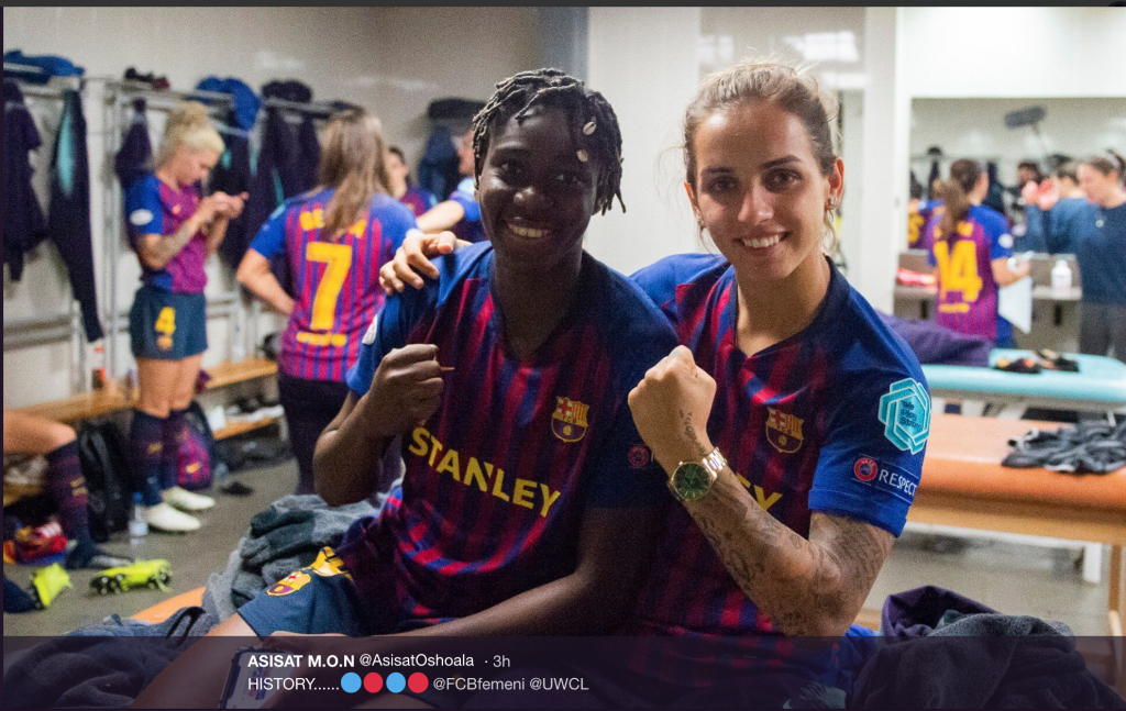 Screen Shot 2019 04 28 at 2.52.00 PM 3 1024x647 - Falcons Star, Asisat Oshoala Celebrates As Barcelona Women Make Champions League Final