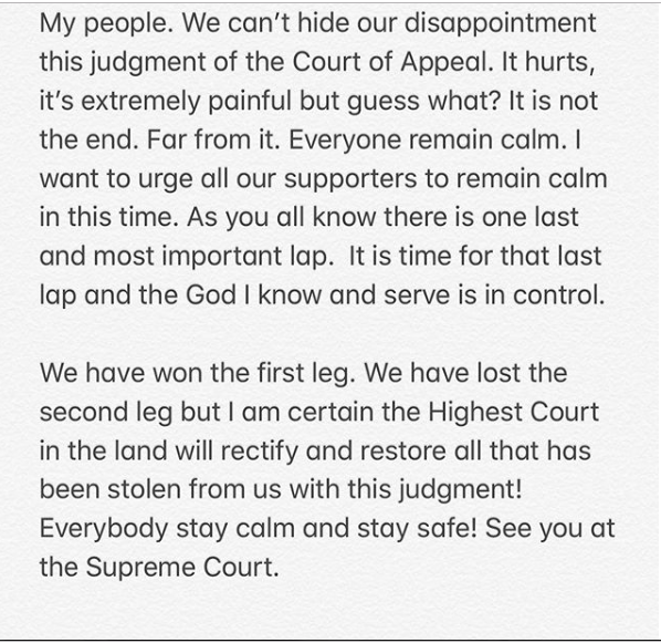 "Davido post - ""Delay Is Not Denial"" – Davido Reacts To Adeleke's Loss At Appeal Court"