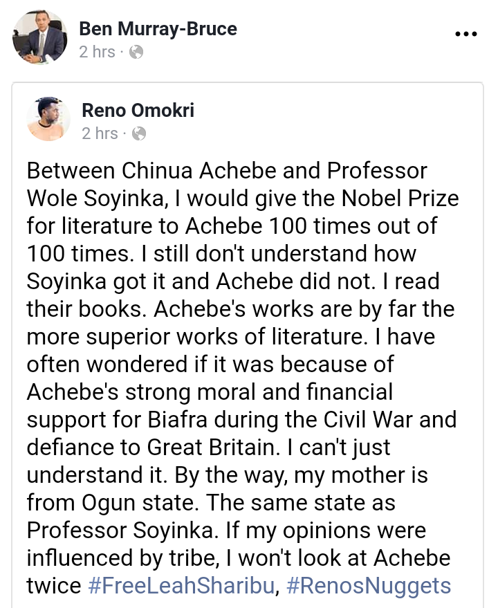 "Omokri post - ""He Deserves His Peace, So Do I"" – Soyinka Fires Back At Omokri Over Comparison To Achebe"