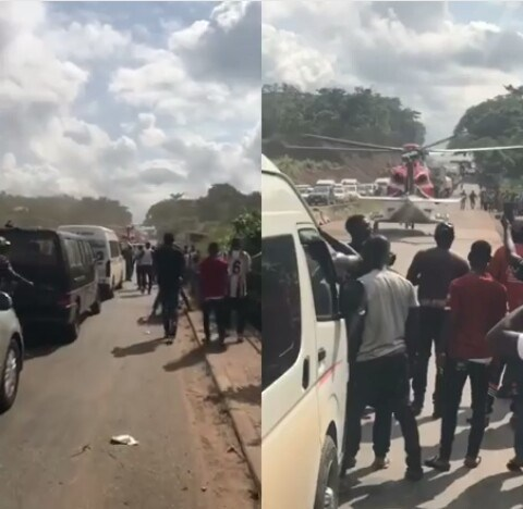helicopter billionaire - NCAA investigates helicopter's highway landing on Lagos-Benin Expressway