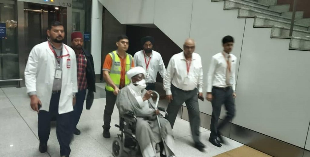 ElZakzaky arrives India3 1024x519 - Condition of Indian hospital, worse than Nigeria's, I want to return home – El-Zakzaky laments