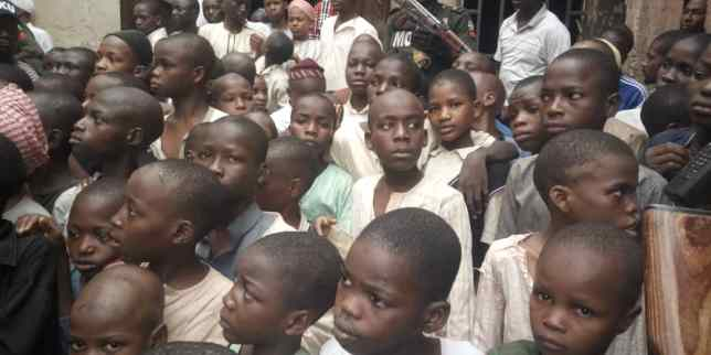 Some of the rescued children - Horror as police rescue 300 children found chained, starved at Islamic centre in Kaduna