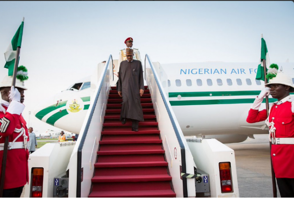 Image result for buhari arrives nigeria from uk